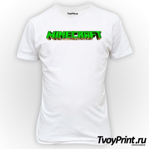 Футболка Майнкрафт Логотип Зеленый