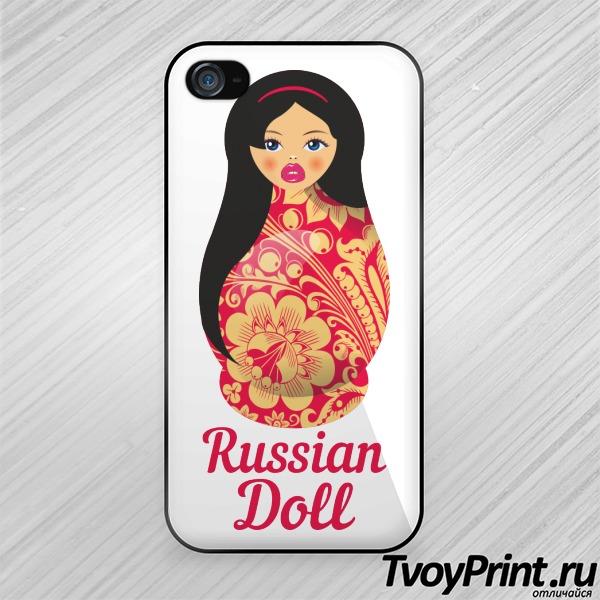 Чехол iPhone 4S Матрешка Брюнетка