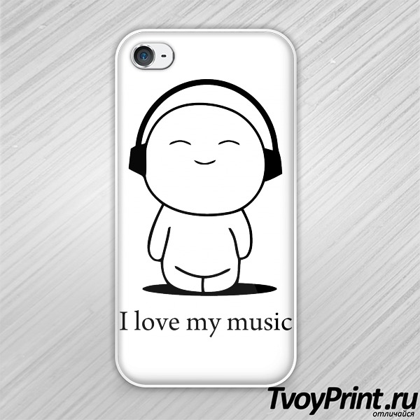 Чехол iPhone 4S I love my musuc