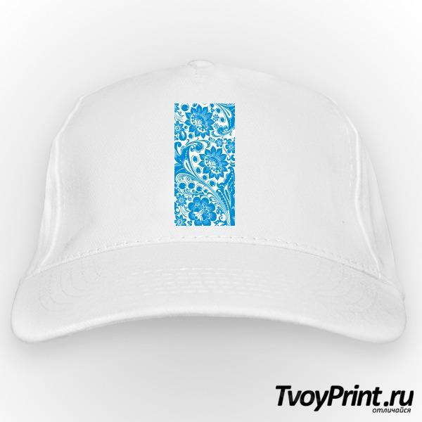 Бейсболка Хохлома white-blue