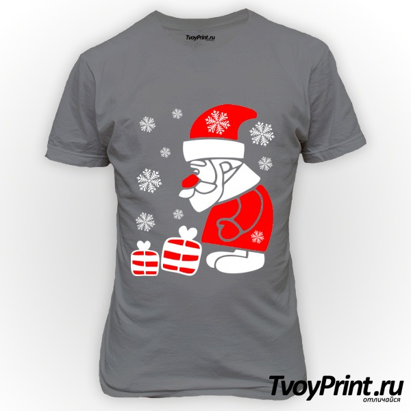 Футболка Дед Мороз смотрит на подарочки
