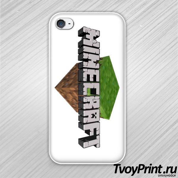 Чехол iPhone 4S Майнкрафт Логотип c блоком