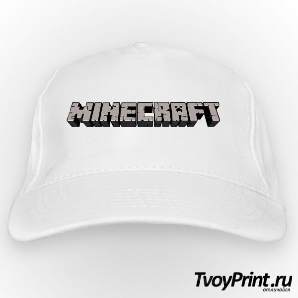 Бейсболка Майнкрафт Логотип Серый