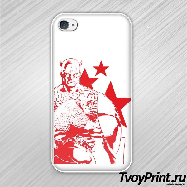 Чехол iPhone 4S Капитан Америка (красный)