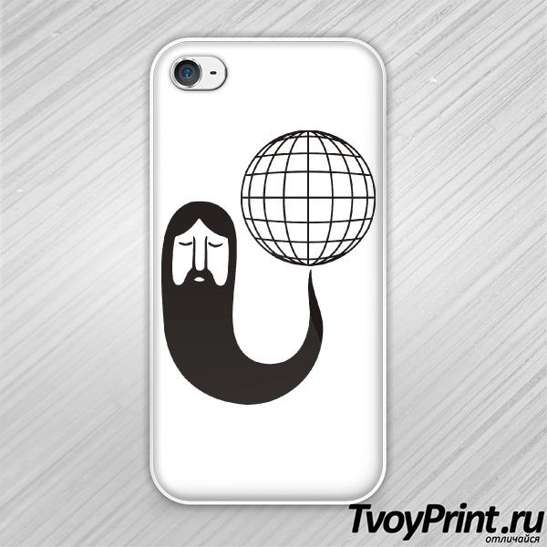 Чехол iPhone 4S Борода крутит землю