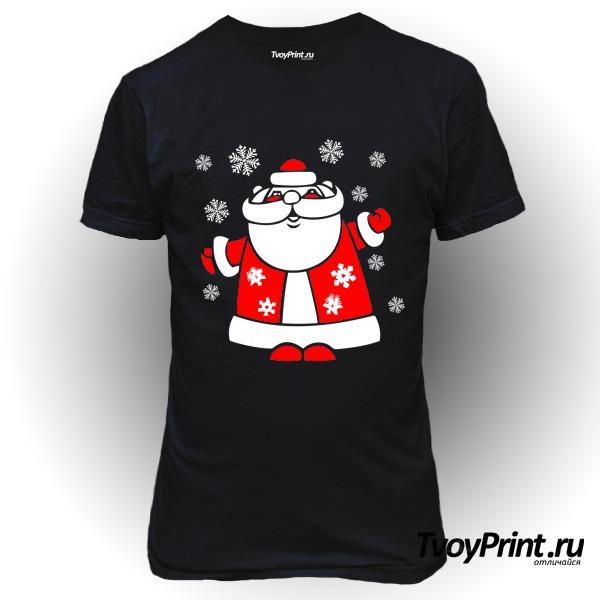 Футболка Дед Мороз со снежинками