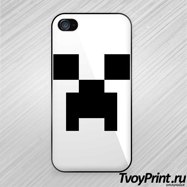 Чехол iPhone 4S Майнкрафт Лицо Крипера без краев