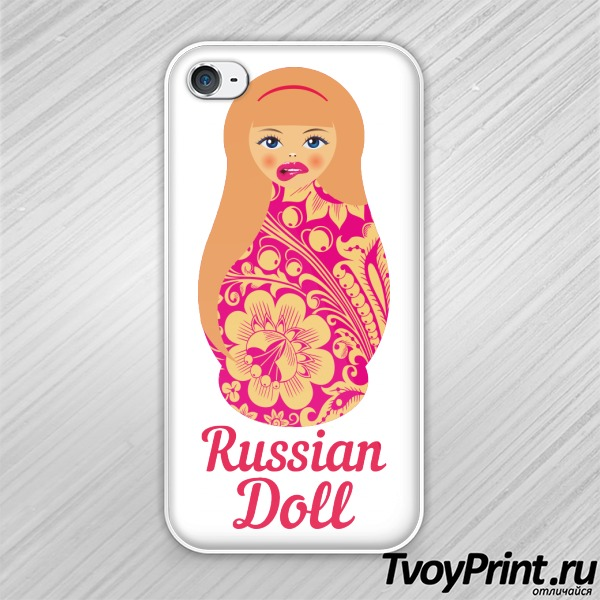 Чехол iPhone 4S Матрешка блондинка pink