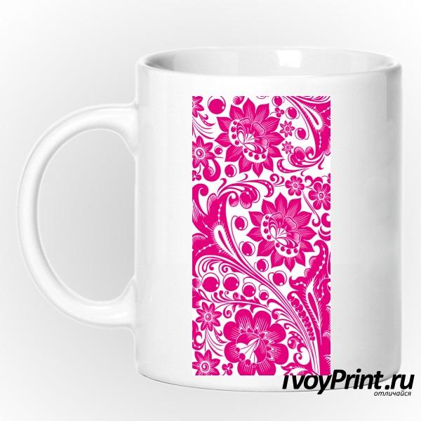 Кружка Хохлома white-pink