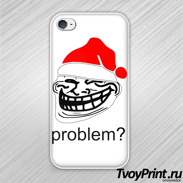 Чехол iPhone 4S новогодний Trollface