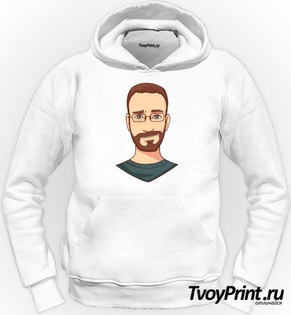 Толстовка бородатый хипстер в очках