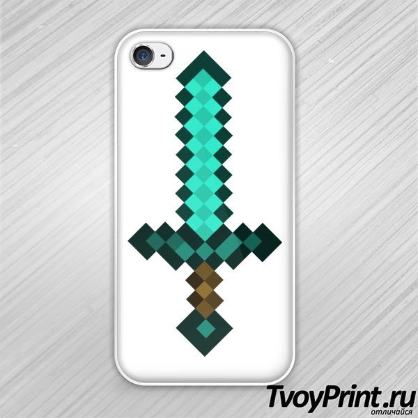 Чехол iPhone 4S Майнкрафт Алмазный Меч