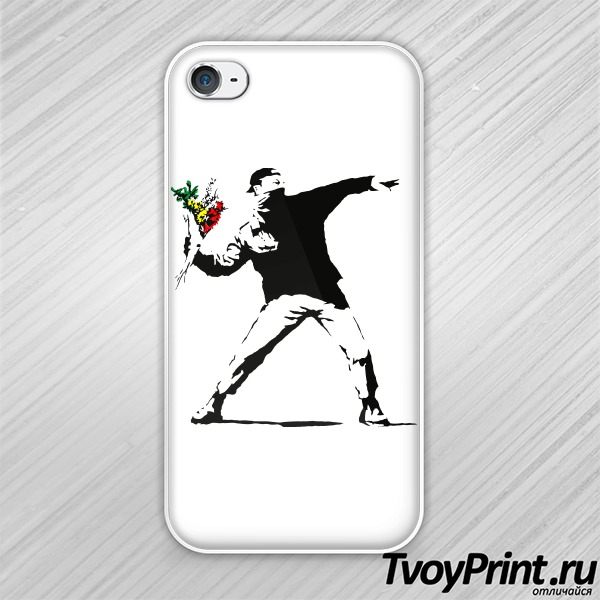 Чехол iPhone 4S Banksy Flowers