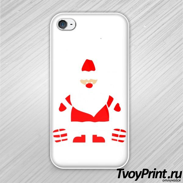 Чехол iPhone 4S Дед Мороз улыбается
