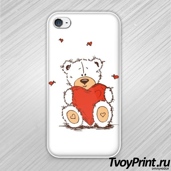 Чехол iPhone 4S Тедди с сердцем