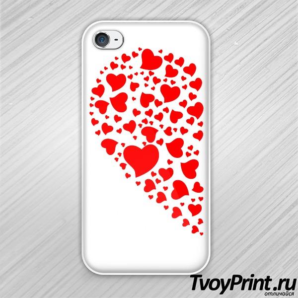 Чехол iPhone 4S Сердца левая половинка