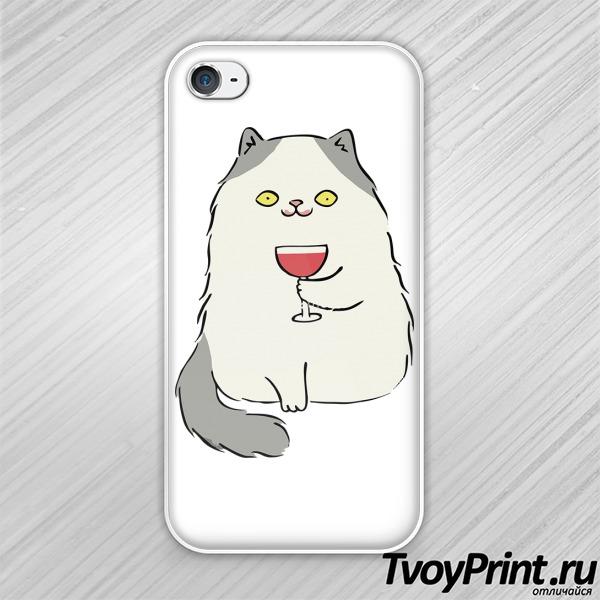 Чехол iPhone 4S Котик с вином