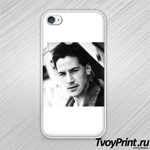 Чехол iPhone 4S Молодой Киану ч/б