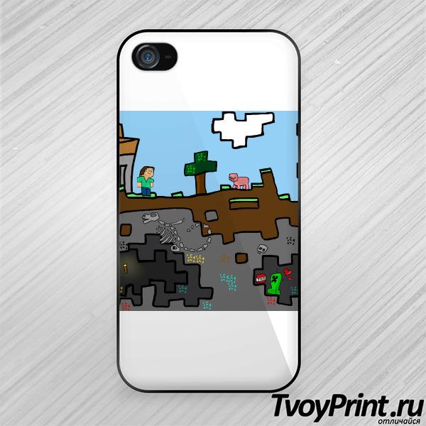 Чехол iPhone 4S Майнкрафт Вид в Разрезе