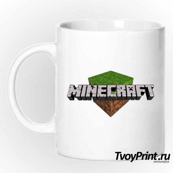 Кружка Майнкрафт Логотип c блоком