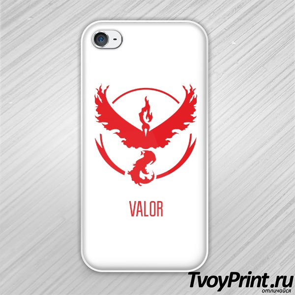 Чехол iPhone 4S Red Team Valor Pokemon Go Красная команда