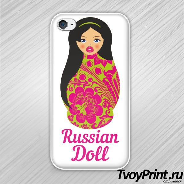 Чехол iPhone 4S Матрешка Брюнетка Грин