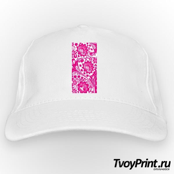 Бейсболка Хохлома white-pink