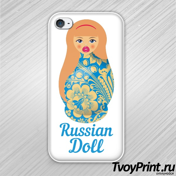 Чехол iPhone 4S Матрешка блондинка
