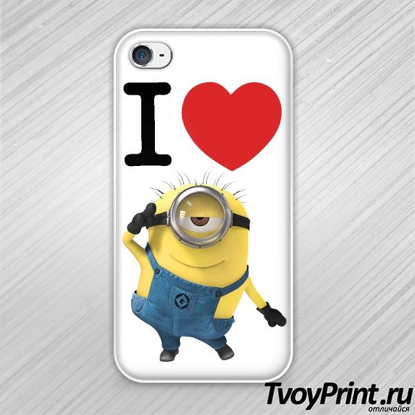 Чехол iPhone 4S Я люблю миньонов (Гадкий Я)