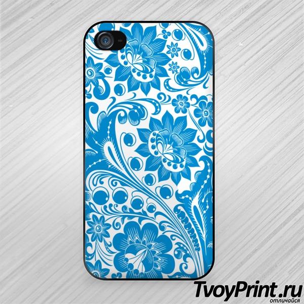 Чехол iPhone 4S Хохлома white-blue
