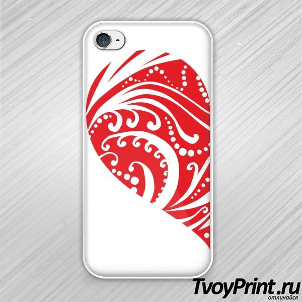 Чехол iPhone 4S Сердце (муж)