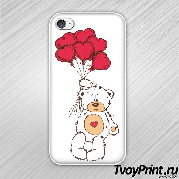 Чехол iPhone 4S Тедди с шариками