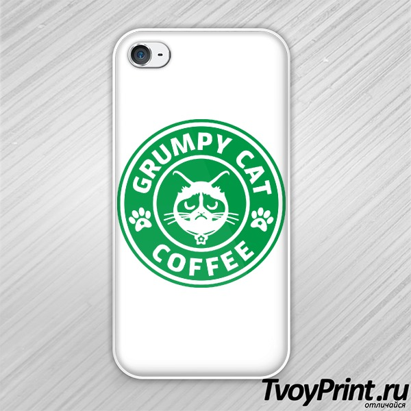 Чехол iPhone 4S Grumpy Cat Coffee