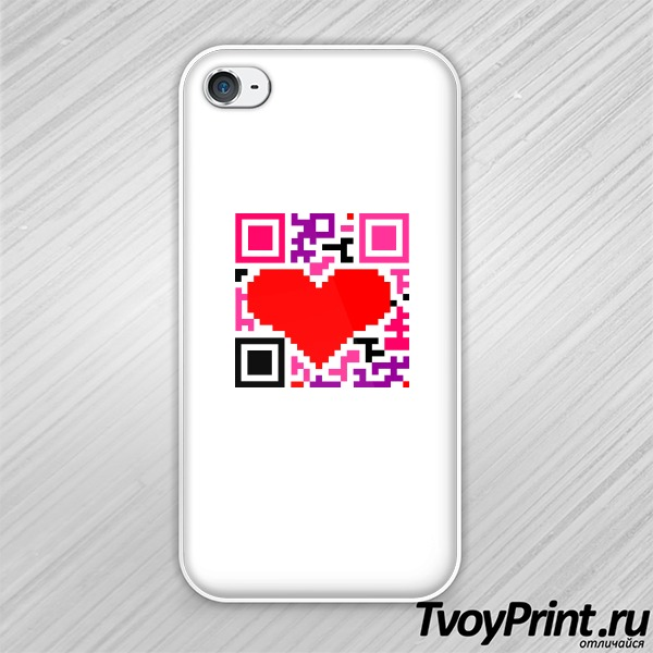 Чехол iPhone 4S QR-код  love
