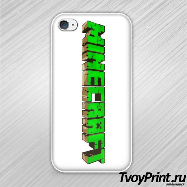 Чехол iPhone 4S Майнкрафт Логотип Зеленый