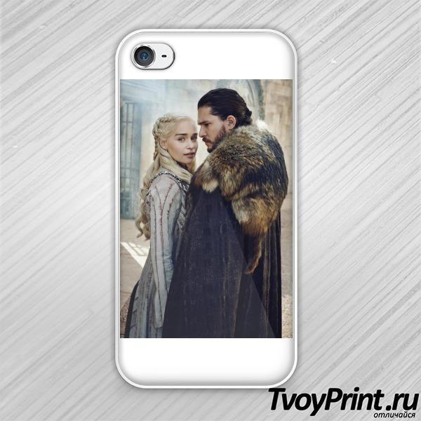 Чехол iPhone 4S Джон Сноу и Дейнерис Таргариен