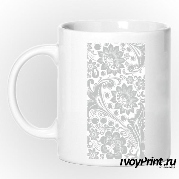 Кружка Хохлома white-gray