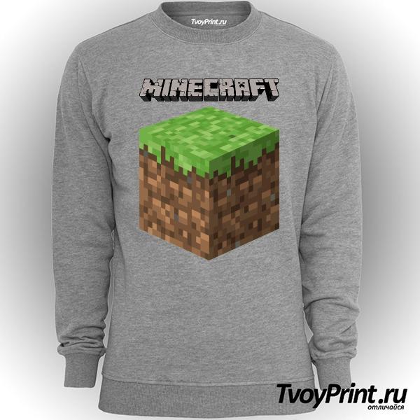 Свитшот Майнкрафт Логотип с Блоком Земли