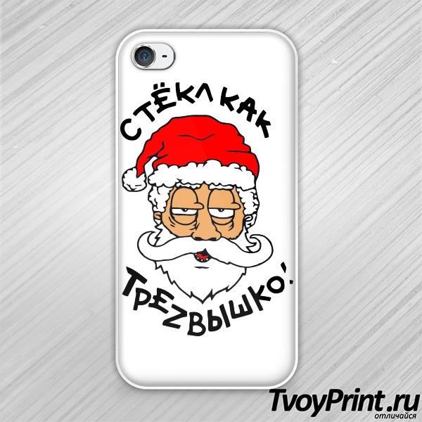 Чехол iPhone 4S Пьяный Дед Мороз