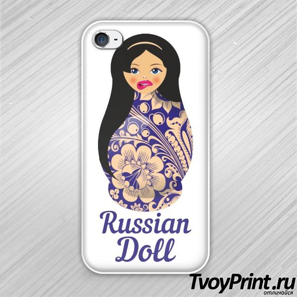 Чехол iPhone 4S Матрешка Брюнетка Lips