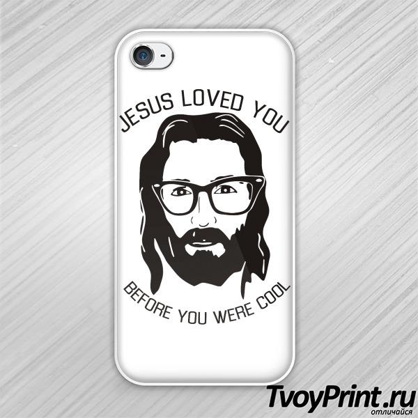 Чехол iPhone 4S Иисус любил тебя до того, как ты стал клевым