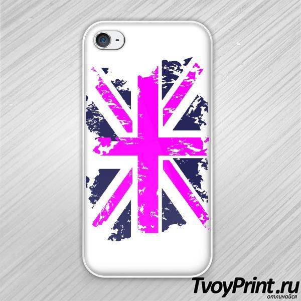 Чехол iPhone 4S Флаг Великобритании (роз.)