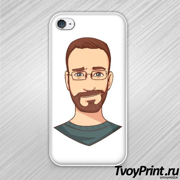 Чехол iPhone 4S бородатый хипстер в очках