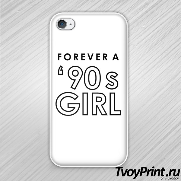 Чехол iPhone 4S forever a 90's girl white