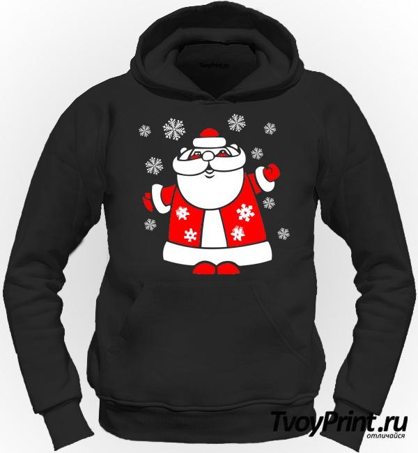 Толстовка Дед Мороз со снежинками