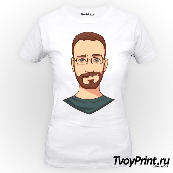 Футболка бородатый хипстер в очках