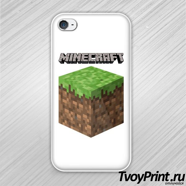 Чехол iPhone 4S Майнкрафт Логотип с Блоком Земли