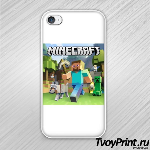 Чехол iPhone 4S Майнкрафт Обложка Стив и КО