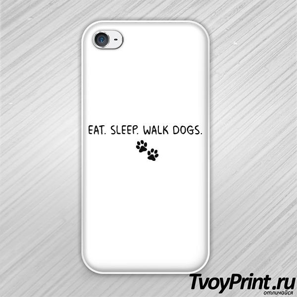 Чехол iPhone 4S EAT. SLEEP. WALK DOGS