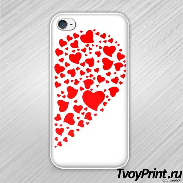 Чехол iPhone 4S Сердца правая половинка